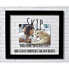 Personalized Dog Photo/ Picture Frame Dogs come into our lives and leave pawprints on our hearts - Photo Picture - Dog Pet Loss Remembrance - Personalized Custom Name
