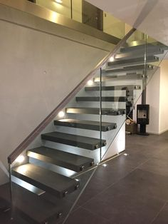 Straight Floating Staircase Cantilever Staircase With Glass Balustrade Custom a staircase, please contact us -Demax Staircase&Railing . Staircase Design Modern, Luxury Staircase, Modern Stair Railing, Cantilever Stairs, Stair Railing Design, New Staircase, Floating Staircase, Staircase Railings, Wooden Staircases