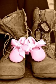 Daddy boots & baby shoes cute idea for picture memories.