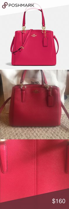 Beautiful Coach Minetta Crossbody Absolutely Beautiful 2017 Coach Minetta Crossbody in Crossgrain Leather. Bright pink almost red in certain lights. Coach's 2017 new color for spring! Perfect Crossbody. Worn maybe five times. One tiny tiny spot on back shown in picture. Can barley see it. Coach Bags Crossbody Bags