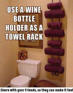 .wine bottle holder for towels