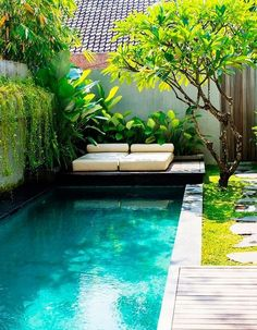Technically it would most likely be simpler to create the pool into the floor or maybe to level it to the ground floor deck. A huge swimming pool sits at the conclusion of the backyard garden. The long, narrow swimming pools are ideal for smaller gardens. Small Swimming Pools, Small Pools, Swimming Pools Backyard, Swimming Pool Designs, Indoor Swimming, Small Backyards, Small Backyard Design, Backyard Pool Designs, Small Backyard Landscaping
