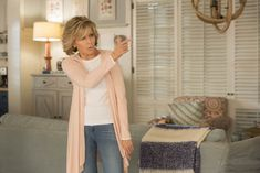 Get the Look: Grace and Frankie's Coastal Cool Beach House Paint colors: Benjamin Moore 1645 Thousand Oceans; Benjamin Moore 958 Ocean Beach Grace and Frankie Set Design Decor Beach House Colors, Beach House Decor, Benjamin Moore, Small Beach Houses, Beach House Kitchens, Paint Colors For Home, Get The Look, Apartment Therapy, Set Design