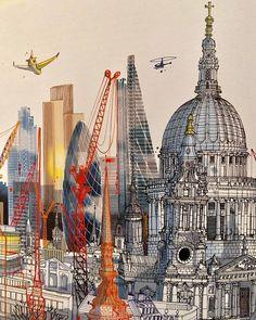 Smart City, Illustrators On Instagram, London City, Moleskine, Color Blocking, Taj Mahal, Illustration, Books, Painting