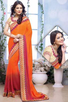 Exotic Sunset Orange & Red #Saree