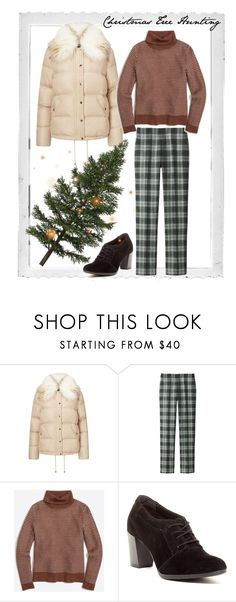 """""""Christmas Tree Hunting"""" by beetlescarab ❤ liked on Polyvore featuring Polaroid, Miss Selfridge, Uniqlo, Clarks, winterstyle and puffercoats"""