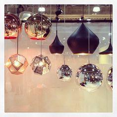 #TomDixon's sparkling pendant lights.