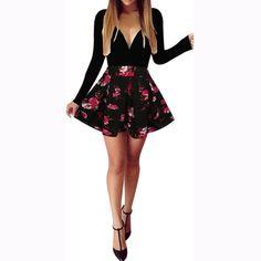 Danielle - Red Floral Print Dress