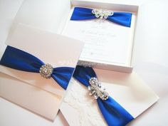 Collection Of Royal Blue Wedding Invitation Designs
