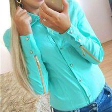 Nők Lady Hosszú ujjú blúz Zipper Tops Lape nyakörv gomb Alkalmi ing Női ruházat (Kína (szárazföld))