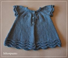 feito e punto: How it was made … the pink cotton knit dress Mode Crochet, Crochet Baby, Knit Crochet, Baby Pullover, Baby Cardigan, Knitting For Kids, Baby Knitting, Pull Bebe, Knit Baby Dress