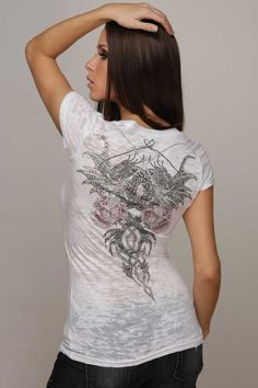 Rawyalty Dragon Rose Womens T-Shirt Vintage Couture Tee Studded Rhinestones