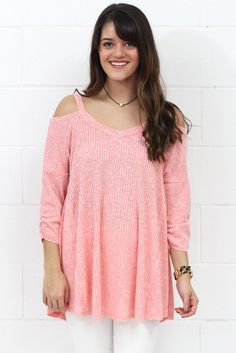 bd3bf5e190cd6 Spring Lovin  Ribbed Cold Shoulder  Coral  EXTENDED SIZES – TFL Plus Size  Beach