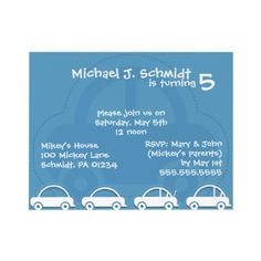Cute car birthday party invitations.  www.enduring-moments.com