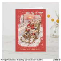Shop Vintage Christmas - Greeting Card created by GRAPHICSITE. Vintage Greeting Cards, Christmas Greeting Cards, Christmas Greetings, Holiday Cards, Eve Children, Christmas Themes, Christmas Stuff, Christmas Eve, White Elephant Gifts