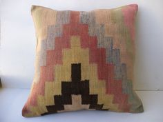 """Pastel Handwoven Old Kilim Pillow,20""""x20"""" inch Decorative turkish Kilim Rug Pillow Cover,Big Size Kilim Pillow,Ethnic Pattern Kilim Pillow."""