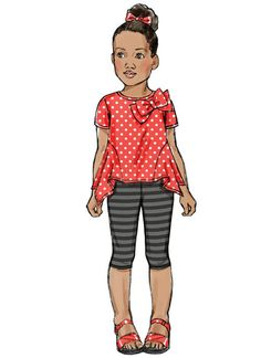 Butterick Sewing Pattern Children's/Girls' Pullover Tops and Leggings Paper Dolls Clothing, Doll Clothes, Fashion Design Drawings, Fashion Sketches, Fashion Illustration Dresses, Fashion Illustrations, Fashion Figures, Legging, Kids Wear