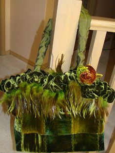 green hand dyed velvets, silk handles, green feathers...class at Out- of- Hand