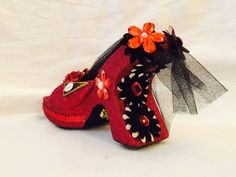 Red and black - look at the back! Krewe of Muses glitter shoe.  2016.