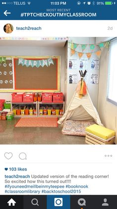 reading area replace the teepee with a chair or bean bag