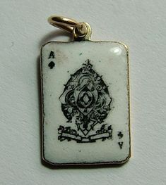 1930's 9ct Rose Gold & Enamel Ace of Spades Playing Card Charm