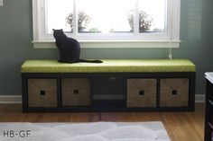ikea shelf ($59.99) turned into window seat with cushion.   great idea!  step by step instructions on page
