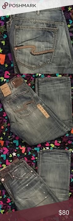 Mens Silver jeans adding more sizes all week Mens Silver jeans GORDIE Style  Rare Joey series 36/32 Factory tattering Loose fit and straight leg Silver Jeans Jeans