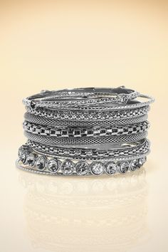 Add a little sparkle to jeans + t-shirt or accessorize your LBD for a cocktail party. Crystal bangle set from Boston Proper on Catalog Spree #accessories #bangles
