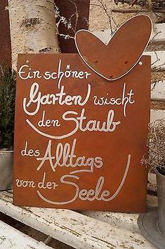 Edelrost Tafel mit Herz Alltag Gartendeko Schild Gedichttafel Spruch Text