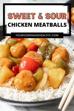 These healthy sweet and sour chicken meatballs are the best weeknight meal! They're quick, easy, and super kid friendly. Made with fresh pineapple and stir fried vegetables, it's a dinner hit for the whole family! Ground Chicken Recipes, Sweet Sour Chicken, Pineapple Chicken, Fried Vegetables, Chicken Meatballs, Vegetable Stir Fry, Asian Cooking, Weeknight Meals, Dinner