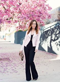 Sydne-Style-blush-trend-spring-2015-moto-jacket-express-pink-flowering-trees-los-angeles-black-flare-jeans