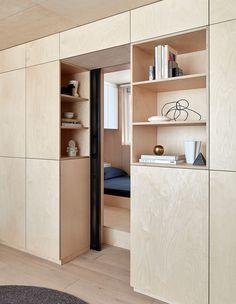 Itinerant Richmond: Micro Apartment Renovation in Melbourne - Home & DIY Plywood Interior, Plywood Furniture, Furniture Design, Kid Furniture, Modern Furniture, Japanese Apartment, Design Apartment, Apartment Renovation, Studio Apartment