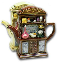 Apothecary- Pharmacy Teapot! I like old medicine bottles they are always so detailed and colorful.