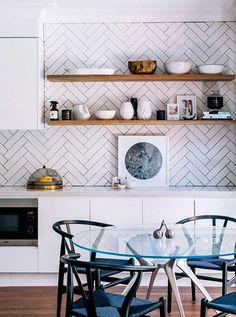herringbone tiles with dark grout in kitchen