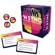 """Meld your minds with Think 'N Sync, a hilarious party game of quick connections. Partners try to give the same answers to a variety of questions Packaged for gift-giving Includes: game cards & playing pieces 3.5""""W x 3.75""""H x 2.13""""D Wipe clean Imported Size: One Size. Color: Multicolor. Gender: unisex. Age Group: kids."""
