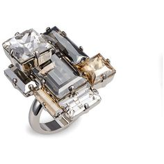 Manhattan Ring, Atelier Swarovski by Philippe Ferrandis ($249) ❤ liked on Polyvore featuring jewelry, rings, layered rings, statement rings, cocktail rings, antique rings and antique jewellery