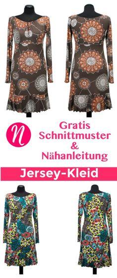 Kostenloses Schnittmuster für Jersey-Kleid mit Volants zum selber nähen. PDF-Schnittmuster Gr. 36-52 ✂ Nähtalente.de - Magazin für kostenlose Schnittmuster ✂ Free sewing pattern for a woman jersey dress in size 36 - 52.
