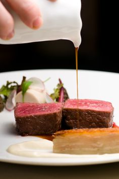 Australian Wagyu Strip Loin, Potato Terrine, Matsutakes, Black Garlic, and Bone Marrow by Chef Justin Bogle of Gilt - New York, NY
