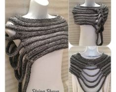 Multi-Way String Shrug Hand knitted in a beautiful chunky wool/acrylic mix yarn, Colour - grey mix Size - small/medium Machine washable. Made in the Scottish Borders. Specially created for the woman who loves individual Style Knitting String Shrug . Hand Knitting, Knitting Patterns, Crochet Patterns, Finger Knitting, Scarf Patterns, Knitting Tutorials, Knitting Projects, Crochet Clothes, Diy Clothes
