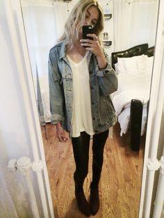 OOTD // Topshop leather leggings, Brandy Melville vneck + jean jacket, Franco Sarto boots, Nomadic Store choker