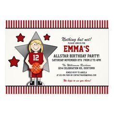 Girl's Basketball Birthday Party Personalized Invitations
