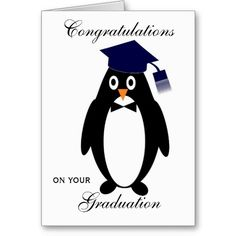 Graduation Card Penguin. Customizable with any text of your choice. #graduation #cards