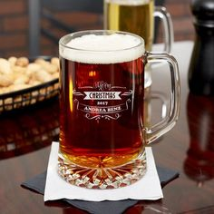 Personalised Wedding Gift Favour Engraved 1 Pint Handmade Mouthblown Tankard