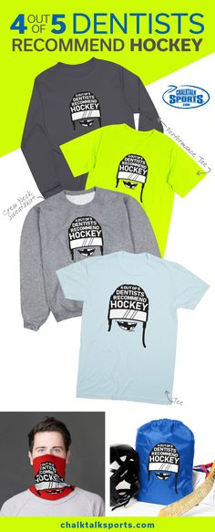 We heard that 4 out of 5 dentists recommend hockey. Show off your love off the game with our latest fun hockey design, currently available as a short sleeve tee, performance apparel, ROKBand and more! Hockey Shirts, Sports Gifts, Dentists, Team Gifts, Short Sleeve Tee, Customized Gifts, Game, Tees, T Shirt