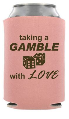 TWC-6057 - Taking A Gamble With Love - Vegas Wedding Can Cooler #koozie #wedding