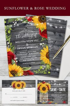 Sunflower and Rose Wedding invitations in beautiful watercolor tones of burgundy red, yellow gold and gray. Even change the rustic wood color on these unique DIY save the dates, rsvp cards and more hand painted by Raphaela Wilson.