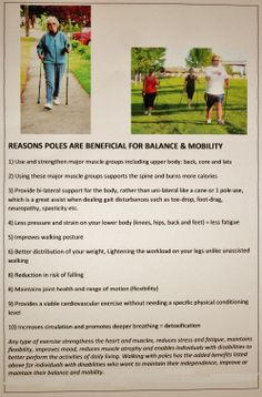 Reasons poles are beneficial for balance & mobility  For private or group lessons, call LORI (863) 268-4404 Winter Haven, FL Email: polewalkingpolkco@gmail.com http://polewalkingpolkco.weebly.com