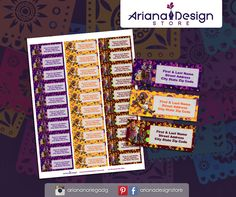 Coco Printable and Personalized Address Labels. Coco Printable Party Kit / Etiquetas para Direcciones Imprimibles y personalizadas inspiradas en Coco. Coco Imprimibles para fiestas.  #etiquetas #arianadesignstore #address #label #mail #stickers #letter #pegatinas #printable #party #coco #dayofthedead #fiestainfantil #kidsparty #diademuertos #cocoparty #party #supplies #penpal City State, Address Labels, Coco, Coding, Kit, Parties Kids, Stickers, Tags, Programming