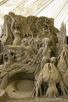 Sand Sculptures - Pier Delle Vigne Editorial Image - Image of sculptures, comedy: 10054355 Ice Art, Snow Sculptures, Snow Art, Grain Of Sand, Land Art, Beach Art, Wood Sculpture, Oeuvre D'art, Unique Art