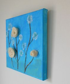 Original blue canvas 3D flowers on canvas girl room decor by Zoia, $25.00